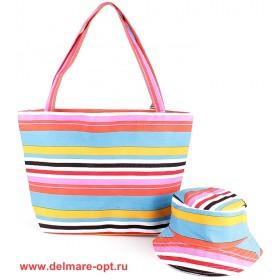 Комплект 118   (сумка пляжная+панама)    текстиль 067-HJ-144,    1отд,    полоска
