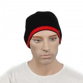 Шапка мужская DMD-КО-007    (одинарная);    шерсть 60%,    полиэстер 40%,    черный+красный