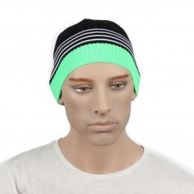 Шапка мужская DMD-КО-031    (одинарная);    шерсть 60%,    полиэстер 40%,    черный+зеленый
