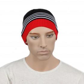 Шапка мужская DMD-КО-031    (одинарная);    шерсть 60%,    полиэстер 40%,    черный+красный