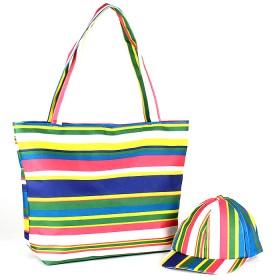 Комплект 117   (сумка пляжная+бейсболка)    текстиль 2905-HJ-147,    1отд,    полоска радуга