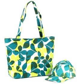 Комплект 117   (сумка пляжная+бейсболка)    текстиль 2905-HJ-118,    1отд,    цветы зеленый