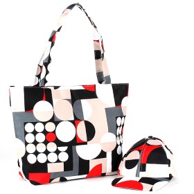 Комплект 117   (сумка пляжная+бейсболка)    текстиль 2905-HJ-083,    1отд,    геомет.фигуры бежевый