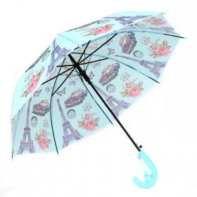 Зонт детский RST-040,    R=48см,    полуавт;    8спиц-сталь;    трость;    полиэтилен,    голубой