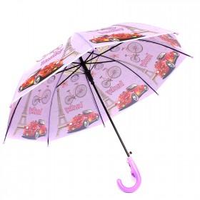 Зонт детский RST-040,    R=48см,    полуавт;    8спиц-сталь;    трость;    полиэтилен,    фиолетовый