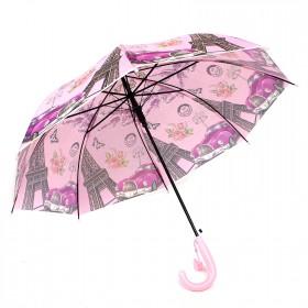 Зонт детский RST-040,    R=48см,    полуавт;    8спиц-сталь;    трость;    полиэтилен,    розовый