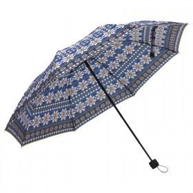 Зонт женский RST-3010,    R=55см,    механика;    8спиц-сталь;    3слож;    полиэстер,    син/черн/белый