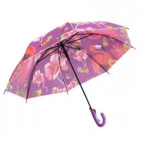 Зонт детский RST-046,    R=48см,    полуавт;    8спиц-сталь;    трость;    полиэстер,    фиолетовый фламинго