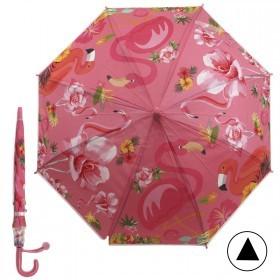 Зонт детский RST-046,    R=48см,    полуавт;    8спиц-сталь;    трость;    полиэстер,     розовый    (фламинго)