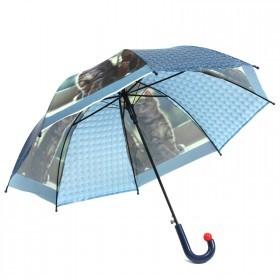 Зонт детский RST-072-3D,    R=48см,    полуавт;    8спиц-сталь;    трость;    полиэтилен,    синий    (Котята)