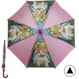 Зонт детский RST-072-3D,    R=48см,    полуавт;    8спиц-сталь;    трость;    полиэтилен,    розовый    (Котята)