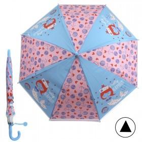 Зонт детский RST-086,    R=48см,    полуавт;    8спиц-сталь;    трость;    полиэстер,    голубой/розовый    (Русалочка)