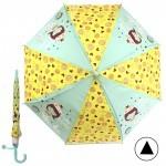 Зонт детский RST-086,    R=48см,    полуавт;    8спиц-сталь;    трость;    полиэстер желтый/св.зеленый    (Русалочка)