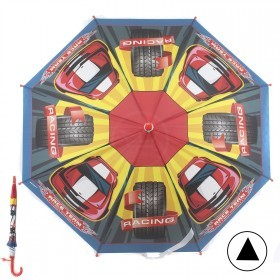 Зонт детский RST-045,    R=48см,    полуавт;    8спиц-сталь;    трость;    полиэстер,    красный/желтый/синий    (Автогонки)